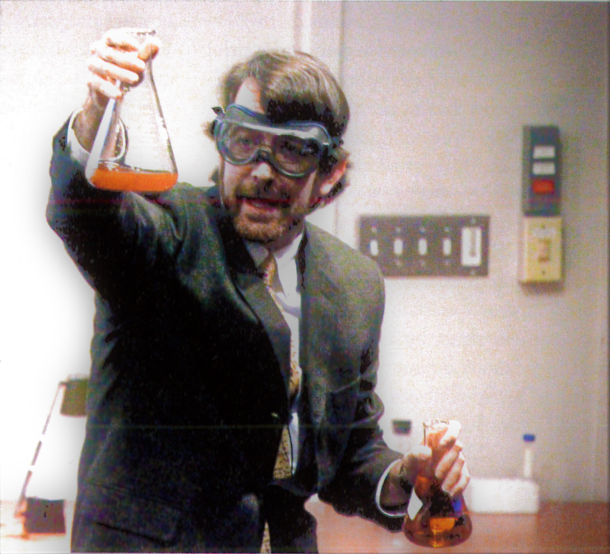 Professor McFarland mixing up a special solution in the lab