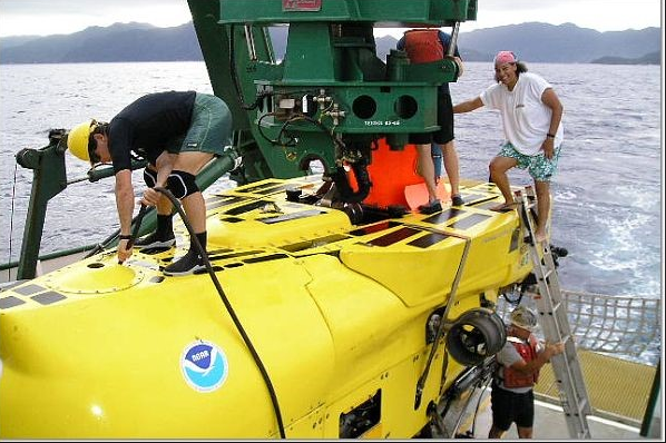 Deep Sea Dawn with a NOAA submersible ocean exploration craft